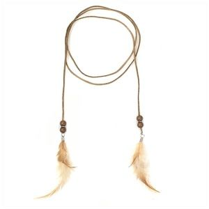 Jewelry - Long Suede Cord Feather Choker Necklace